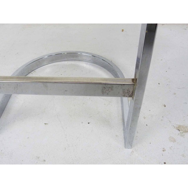 Milo Baughman Style Flat Bar Chrome Cantilever Bar Stools - A Pair - Image 7 of 10