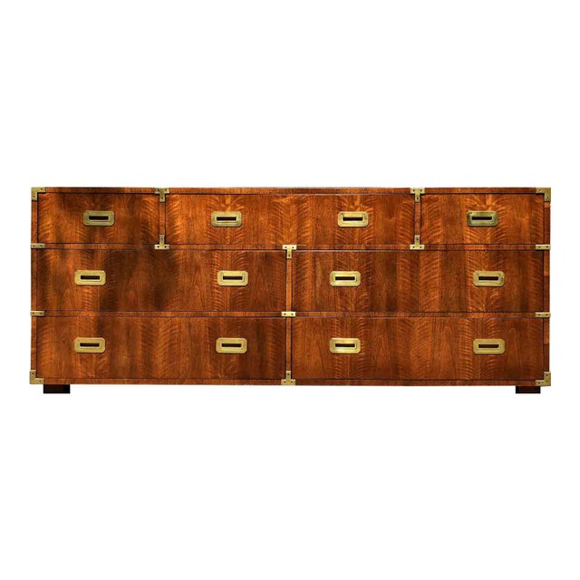1970s Campaign 7 Drawer Credenza or Dresser by Henredon For Sale - Image 12 of 13
