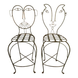 1980s Vintage Figural Iron Bar Stools - a Pair For Sale