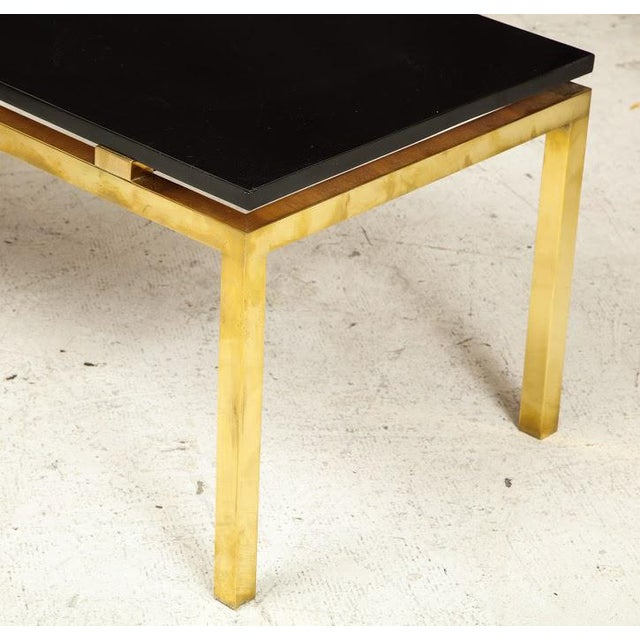 Modern Coffee Table With Lacquered Top on Brass Base For Sale In New York - Image 6 of 7