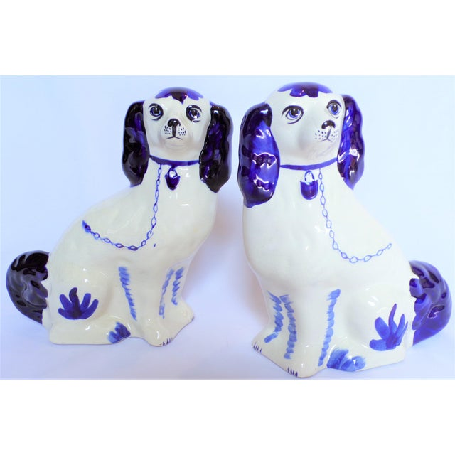 Vintage Blue and White Ceramic Staffordshire Dogs - a Pair For Sale - Image 9 of 11