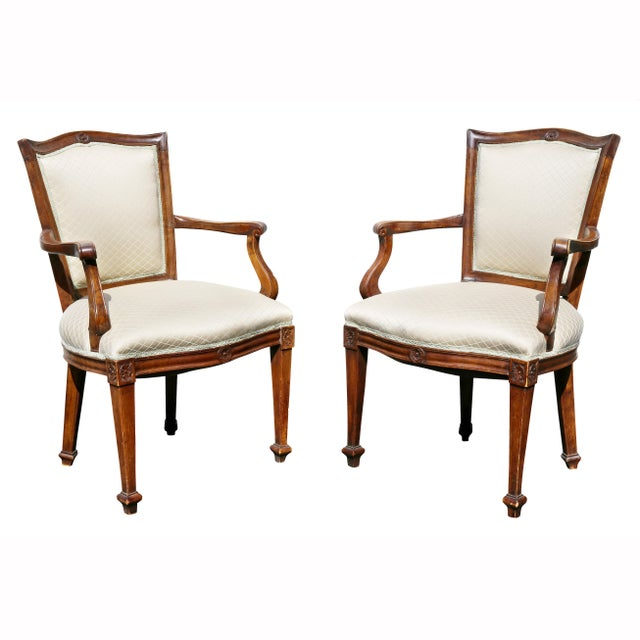 Pair of Italian Neoclassic Walnut Armchairs For Sale - Image 13 of 13
