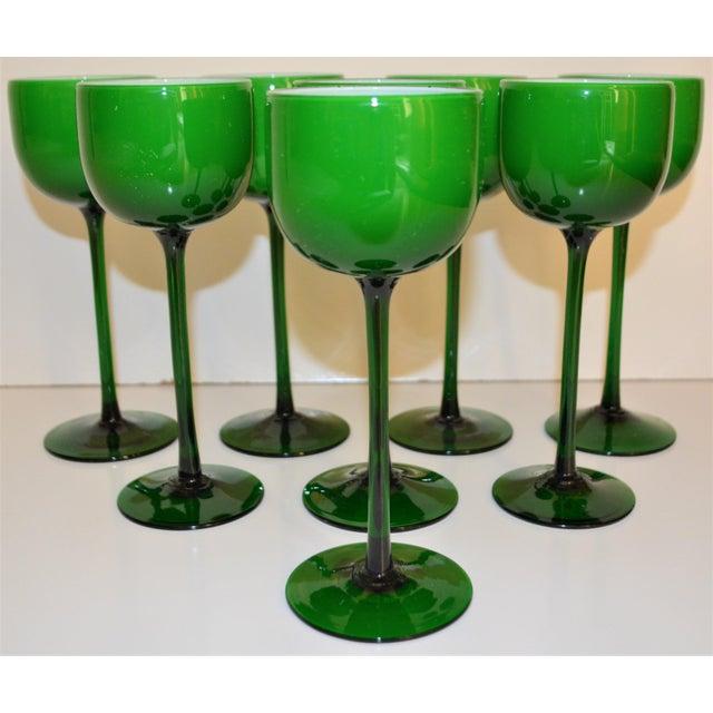 Carlo Moretti Carlo Moretti White Cased Melon Green Stemware - Set of 8 For Sale - Image 4 of 8
