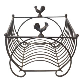 Vintage Mid-Century Rooster Cast Iron Dish Rack For Sale