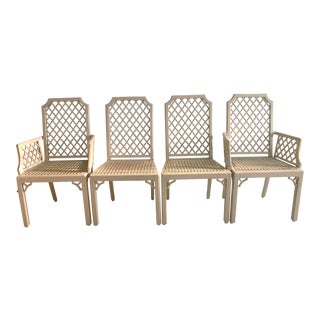Vintage Lattice-Back Fretwork Detail & Caning Dining Chairs - Set of 4 For Sale