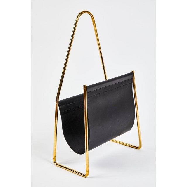 2010s Modern Carl Auböck Model #3808 Brass and Leather Magazine Rack For Sale - Image 5 of 10