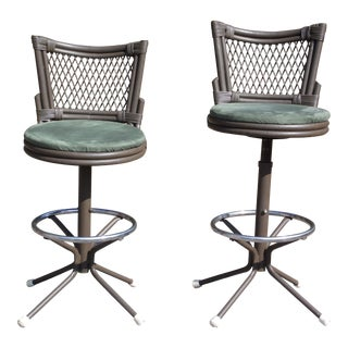 Vintage Pair Mid Century Modern Wrought Iron Chair Corp. Futura Swivel Stools For Sale