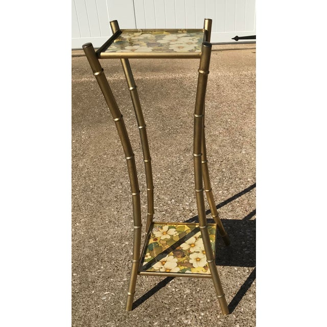 Vintage Faux Bamboo Side Table Plant Stand - Image 6 of 10