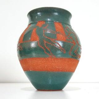 Vintage Southwest Galena Il Studio Pottery Vases Turquoise Glaze Figural Dancers Native American Design Boho Chic Preview