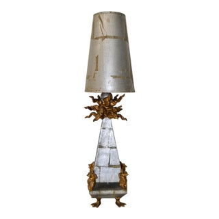 Surreal Fractured Silver Leaf Pyramid Table Lamp For Sale