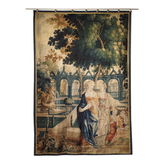 17th Century Park Scene Tapestry From France For Sale