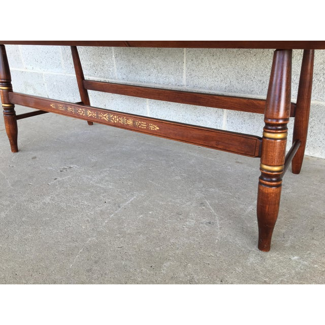 1980s L. Hitchcock Riverton Harvest Windsor Style Deacon's Bench For Sale - Image 5 of 10
