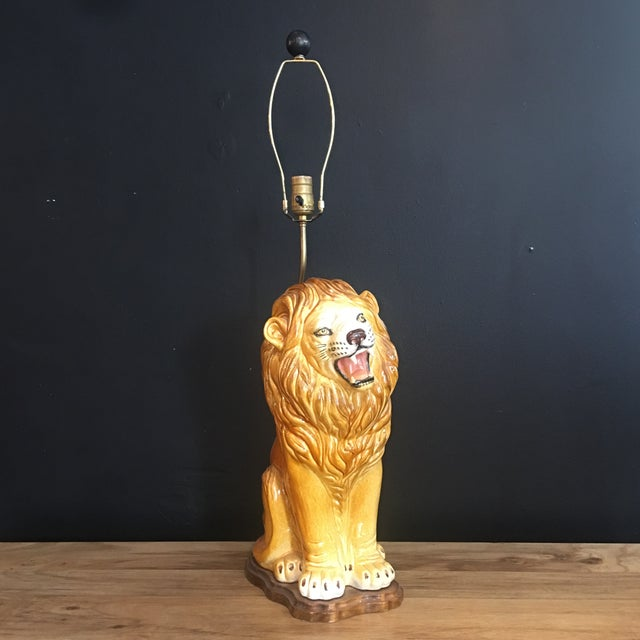 Yellow Large Italian Hand-Painted Porcelain Lion Sculpture Mounted Lamp For Sale - Image 8 of 12