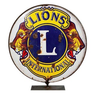Sign - Vintage - Lion's Club Sign For Sale