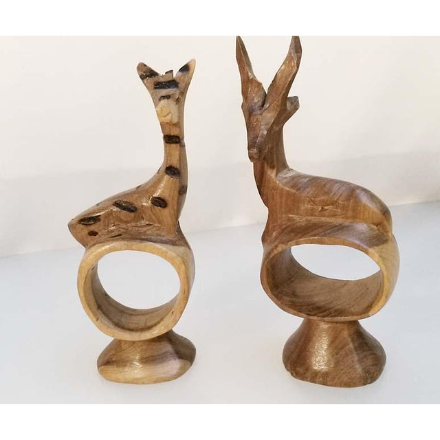 African Holiday Sale!! Vintage African Handcarved Wooden Animal Napkin Rings - Set of 9 For Sale - Image 3 of 7