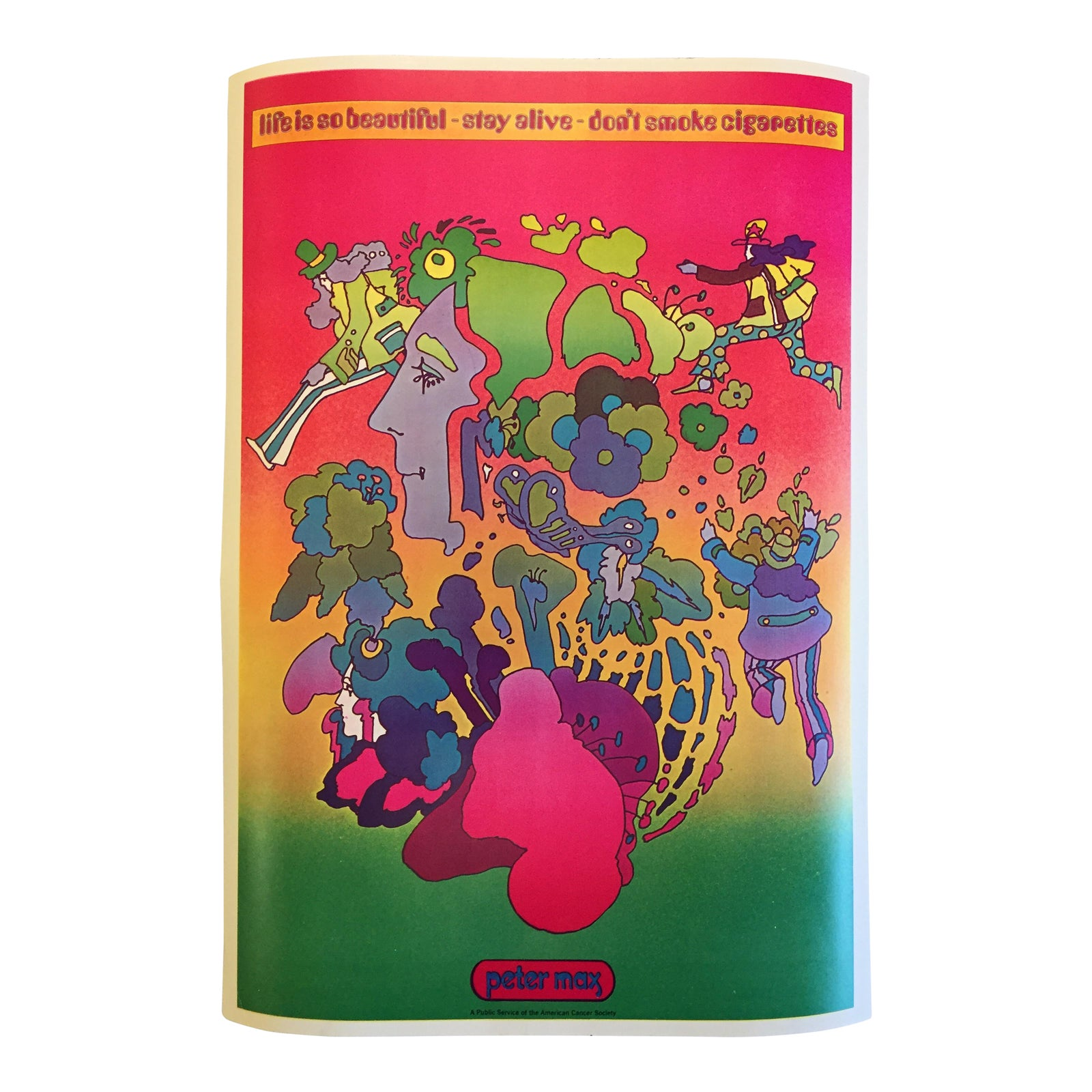 American Cancer Society Furniture Pick Up: Vintage Peter Max American Cancer Society Poster