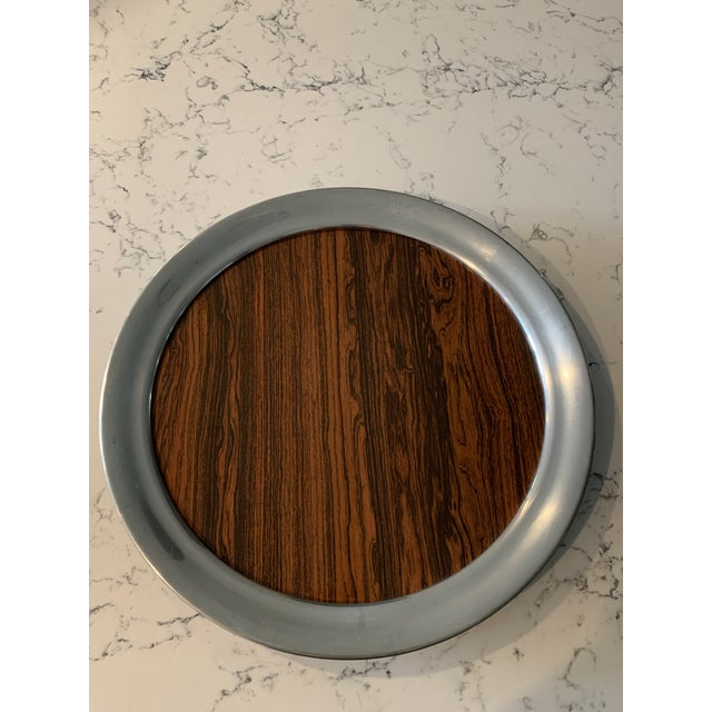 Brown Mid 20th Century Vintage A. L. Hanle Pewter & Rosewood Formica Serving Tray For Sale - Image 8 of 8