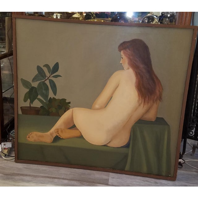 1960s 1960s Large Original Oil of Seated Female Nude by Philadelphia Listed Artist Eva Martino For Sale - Image 5 of 5