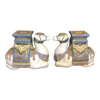 1960s Ceramic Camel Garden Seats-a Pair For Sale