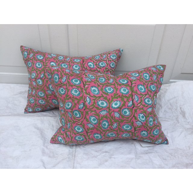 Hand-Blocked Pink Indian Pillows - A Pair - Image 2 of 6