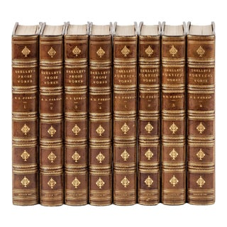 Late 19th Century Leather Volume Set, Percy Bysshe Shelley's Verse and Prose - Set of 8 For Sale