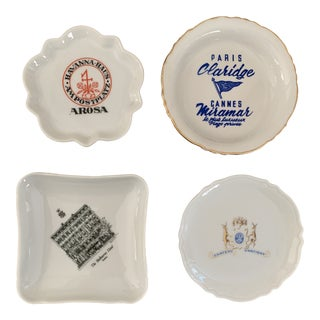 Collection of Vintage International Hotel and Restaurant Ashtrays or Catchalls- Set of 4 For Sale