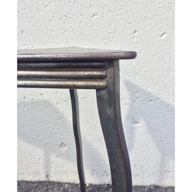 Gray Postmodern Will Stone Handmade Steel Side Tables - a Pair For Sale - Image 8 of 10