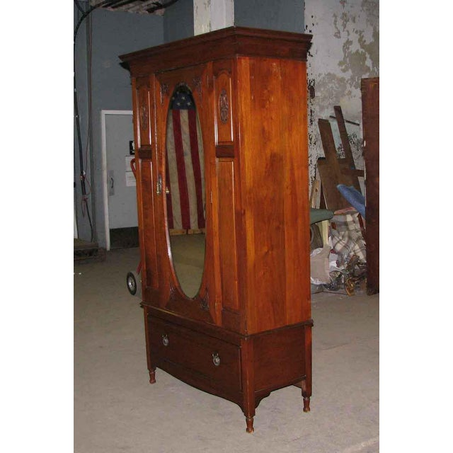 Early American Carved Cherry Armoire With Beveled Mirror For Sale - Image 4 of 10