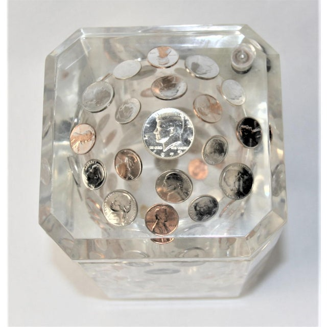 Rare and impressive Mid Century Modern Alessandro Albrizzi lucite ice bucket with a hinged swivel lid. It is completely...
