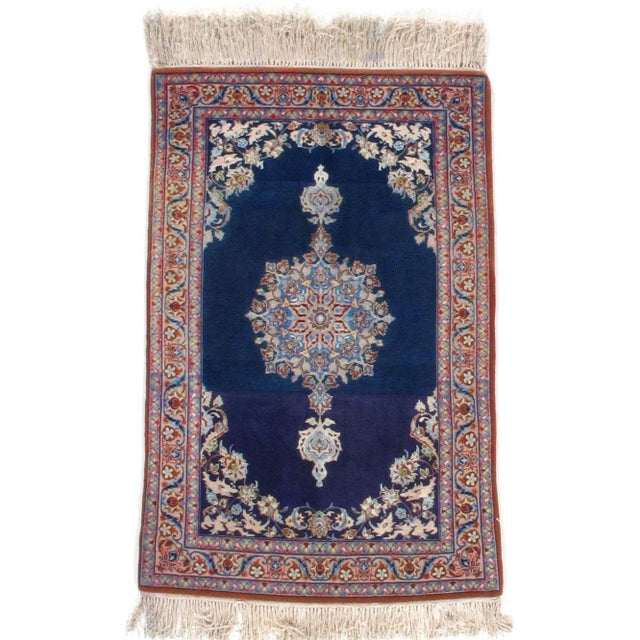 Original Fine Persian Isfahan Rug Open filled Discoloration Handmade Hand-knotted Silk & Korker Wool on a Silk Foundation...