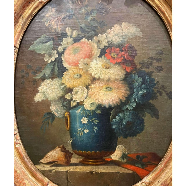 French 19th Century French Oval Oil on Board Floral Painting in Carved Gilt Frame For Sale - Image 3 of 12
