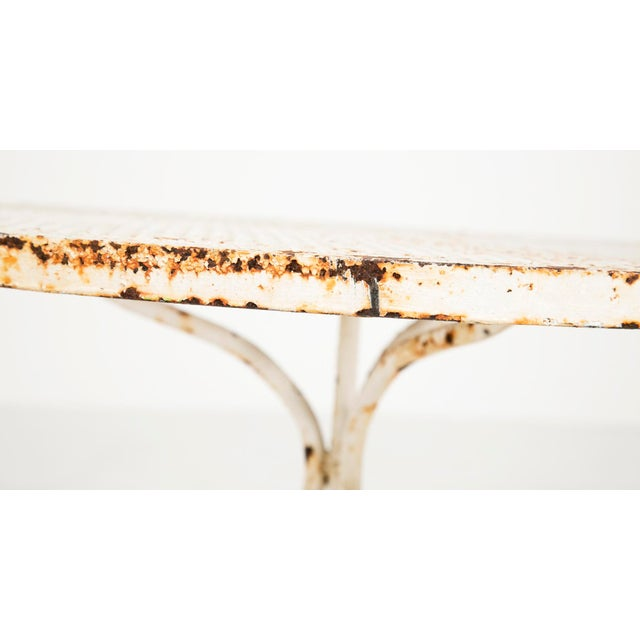 Vintage White Iron Garden Table For Sale - Image 5 of 9