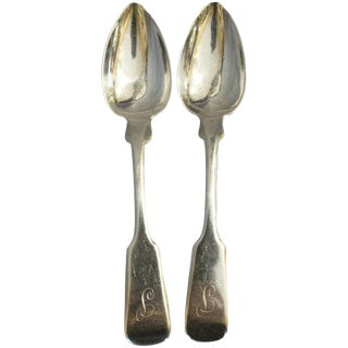 19th Century American Classical Nathaniel Hayden Silver Teaspoons - a Pair