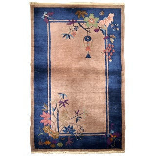 1920s Handmade Antique Art Deco Chinese Rug 2.10' X 5.2' For Sale