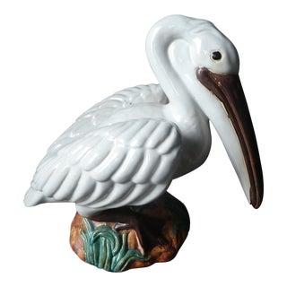 Vintage Majolica Pelican Statue For Sale