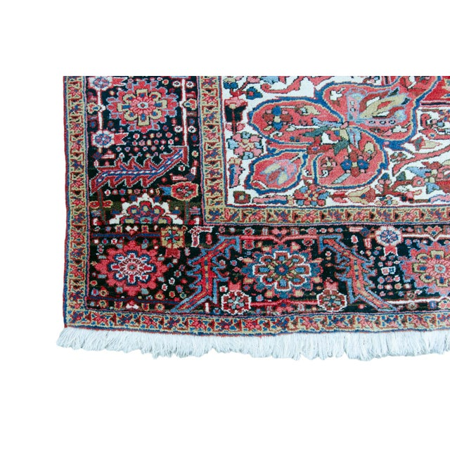 """Textile Antique Persian Heriz Rug - 9' 11"""" by 13' 1"""" For Sale - Image 7 of 8"""
