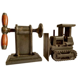 Pair of Iron Industrial Bookends For Sale