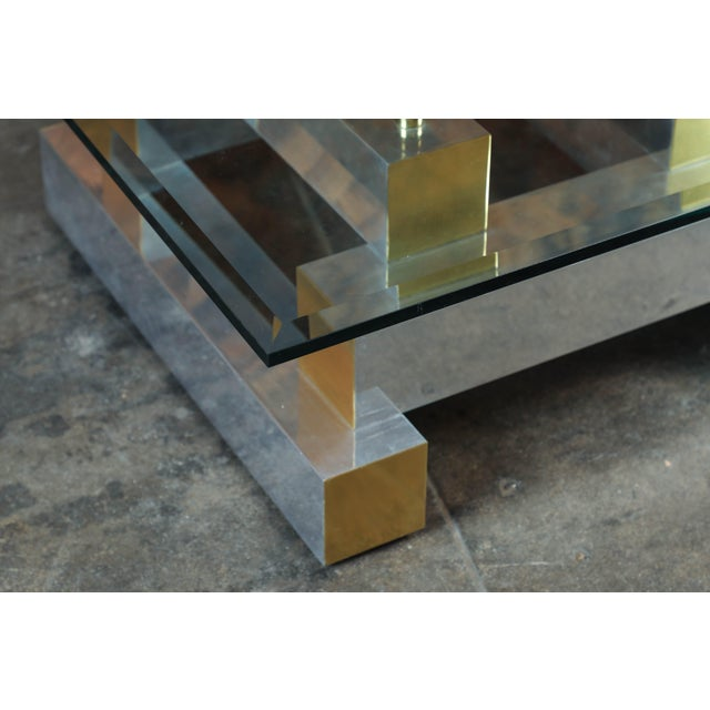 Paul Evans Style Vintage Chrome & Brass Coffee Table - Image 3 of 7