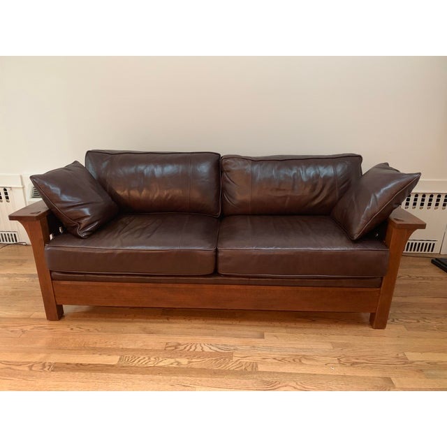 Peachy Brown Wood And Leather Stickley Toms Price Sofa Unemploymentrelief Wooden Chair Designs For Living Room Unemploymentrelieforg