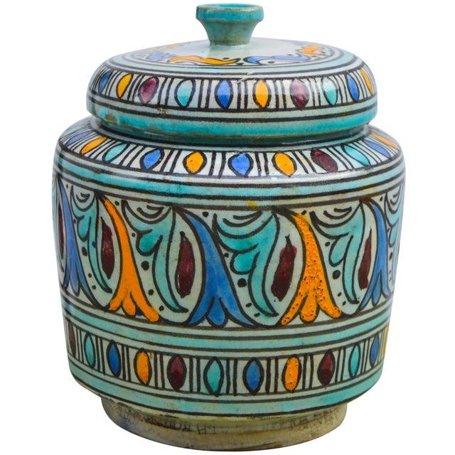 Moorish-Patterned Ceramic Lidded Jar For Sale - Image 4 of 10
