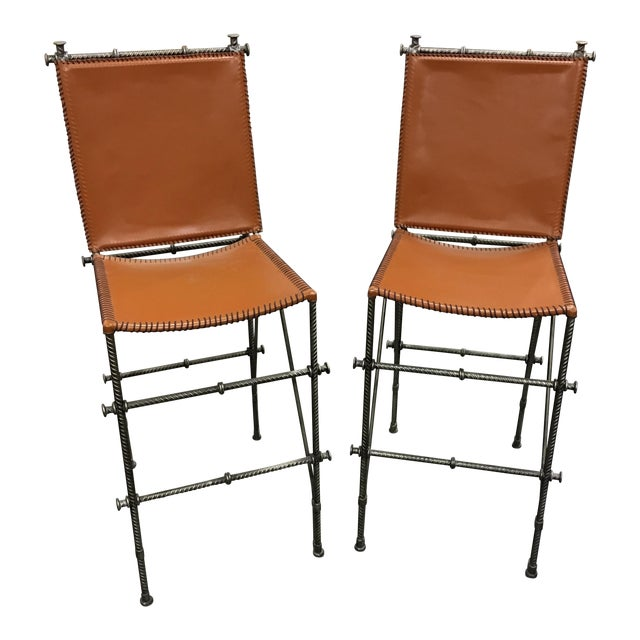 Leather & Rebar Bar Stools - a Pair For Sale