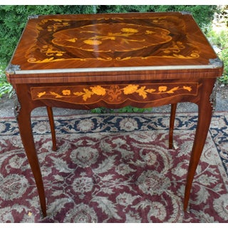 1900s Antique French Louis XV Walnut and Satinwood Inlaid Flip Top Game Table Preview