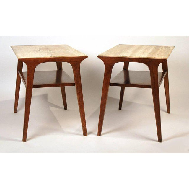 Stylish pair of walnut and travertine side tables by John Van Koert for Drexel.