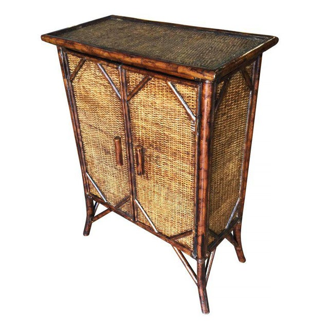 Restored Tiger Bamboo Cabinet With Rice Mat Covering - Image 3 of 5
