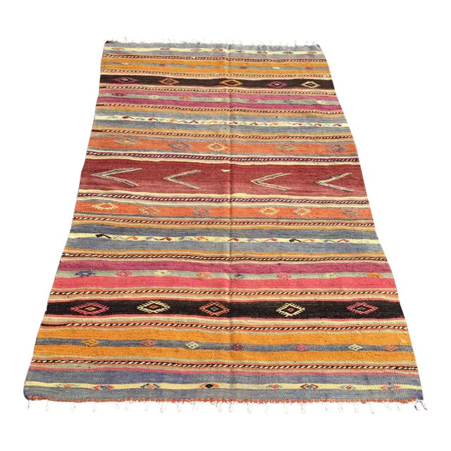 Striped Soft Colored Turkish Kilim Rug For Sale