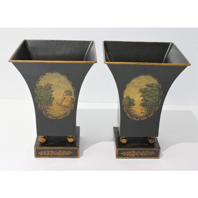 Hollywood Regency Vintage Dark Green Cachepot - a Pair For Sale - Image 3 of 9