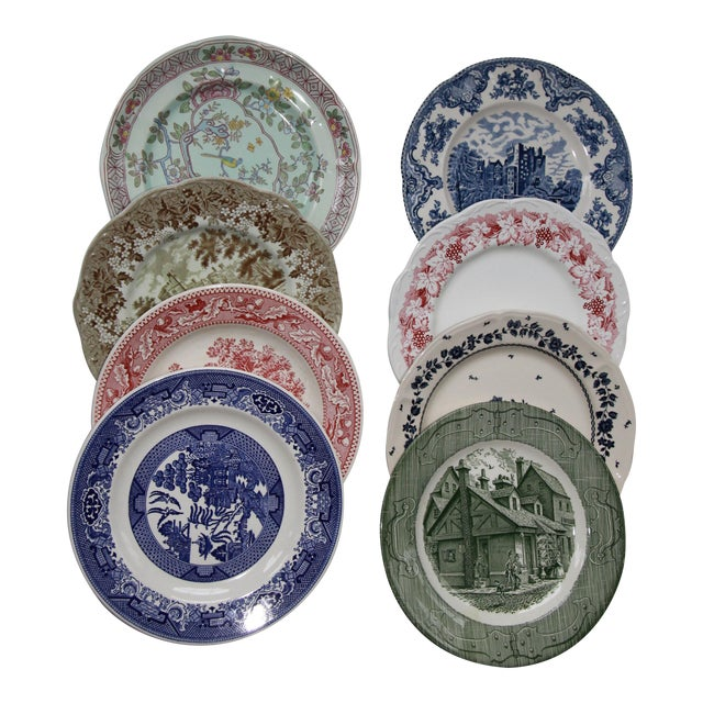 Mismatched Transfer Ware Ironstone Dinner Plates - Set of 8 For Sale