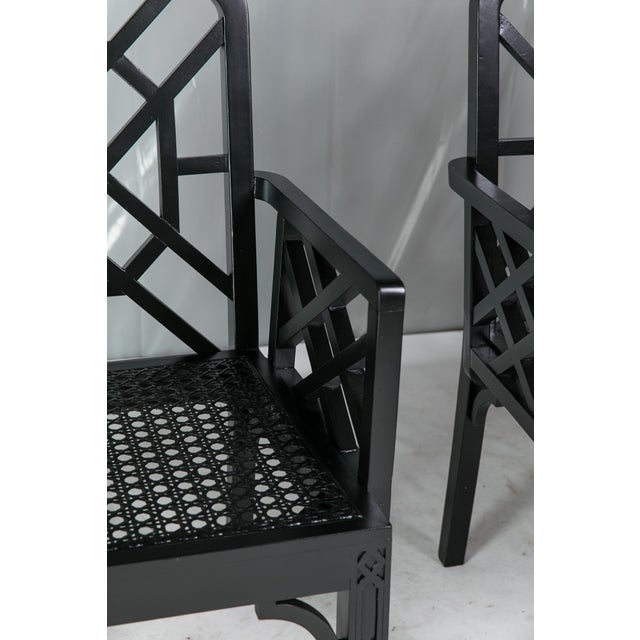 Black 1980s Vintage Madcap Cottage Black Chinoiserie Fretwork Chairs-a Pair For Sale - Image 8 of 13