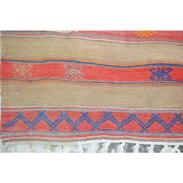 "VintageTurkish Anatolian Hand Made Organic Wool Dowry Kilim,5'5""x7'5"" For Sale - Image 4 of 5"
