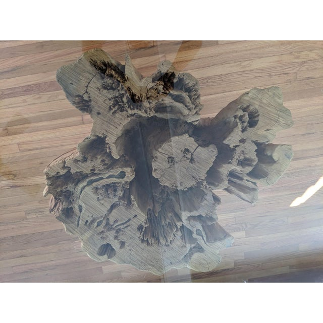 Rustic Lodge Glass Round Top Teak Base Dining Table | Chairish